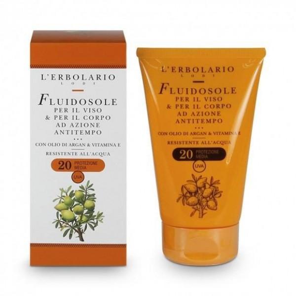 Fluidosole per il viso e per il corpo ad azione Antitempo SPF 20 - 125 ml - Sole e Aria Aperta - L'Erbolario